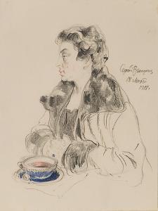 Portrait of Jevdokia Sergeyevna Morozova (1885-195), 1918 by Sergei Arsenyevich Vinogradov