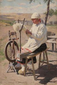 The Spinner, 1895 by Sergei Arsenyevich Vinogradov