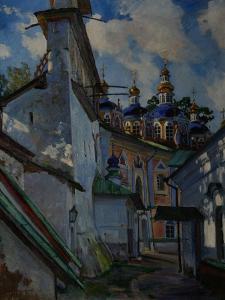 View of the Pskovo-Pechersky Monastery, 1928 by Sergei Arsenyevich Vinogradov