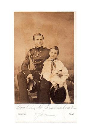 Portrait of Grand Duke Constantin Nikolaevich of Russia with Son Nicholas Constantinovich, C. 1858