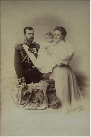 Portrait of Nicholas II of Russia with Alexandra Fyodorovna and Daughter Olga, 1895