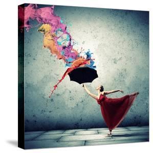 Ballet Dancer In Flying Satin Dress With Umbrella by Sergey Nivens