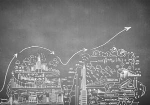 Chalk Drawn Business Plan Sketch by Sergey Nivens