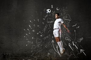 Football Player in Jump Striking Ball with Sketches at Backdrop by Sergey Nivens