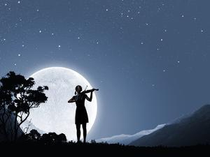 Silhouette of Woman Playing Violin at Night by Sergey Nivens