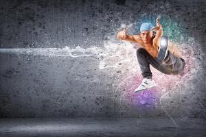 Young Man In A Blue Cap Dancing Hip Hop - Collage by Sergey Nivens