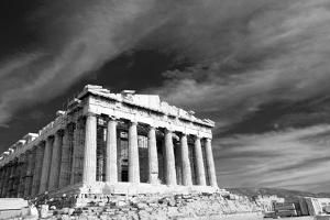 Ancient Parthenon In Acropolis Athens Greece Black And White by SergeyAK