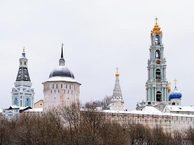 Sergiev Posad. Snow-Covered Domes of Holy Trinity-Sergius Lavra in Winter-vicsa-Photographic Print