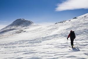A Skier Travels Near Ptarmigan Pass in the Vail Pass Winter Recreation Area, Colorado by Sergio Ballivian
