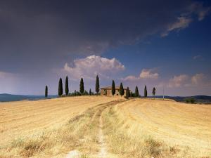 Cottage and Cypress Trees Near Pienza, Val d'Orcia, Siena Province, Tuscany, Italy, Europe by Sergio Pitamitz