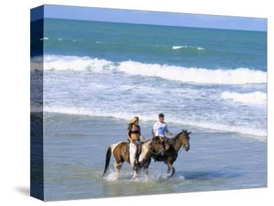 Couple Riding Horses on the Beach, Tibau Do Sul, Natal, Rio Grande Do Norte State, Brazil