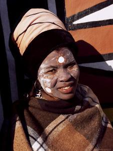 Portrait of a Woman with Facial Decoration, Cultural Village, Johannesburg, South Africa, Africa by Sergio Pitamitz