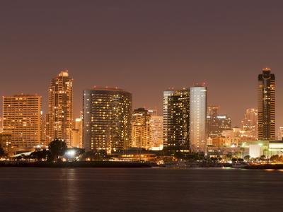San Diego Skyline at Dusk From Coronado Island, California, United States of America, North America