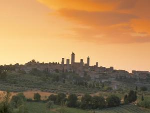 San Gimignano at Sunset, Siena Province, Tuscany, Italy, Europe by Sergio Pitamitz