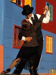 Tango Dancers on Calle Caminito, La Boca District, Buenos Aires, Argentina by Sergio Pitamitz