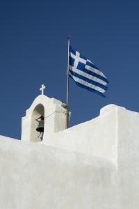 The Greek National Flag Atop a Ai Yiannis Detis Monastery by Sergio Pitamitz