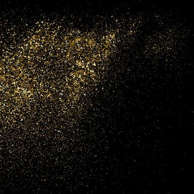 Gold Glitter Texture on a Black Background. Golden Explosion of Confetti. Golden Grainy Abstract Te