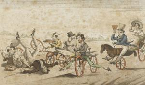 Série de caricatures parisiennes:  plaisirs et désagréments du vélocipède et  chevaux orifères