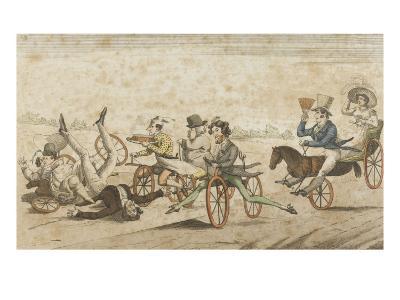 Série de caricatures parisiennes:  plaisirs et désagréments du vélocipède et  chevaux orifères--Giclee Print