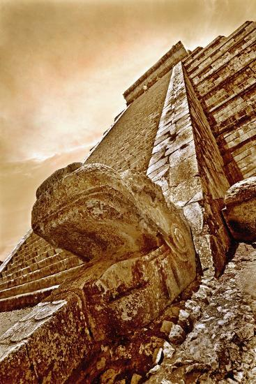 Serpent Head and Long Stairway on Pyramid of Kukulcan-Thom Lang-Photographic Print