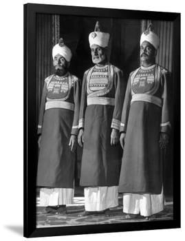Servants of British Lord Archibald Wavell, Viceroy of India, in Scarlet and Gold Uniforms-Margaret Bourke-White-Framed Premium Photographic Print