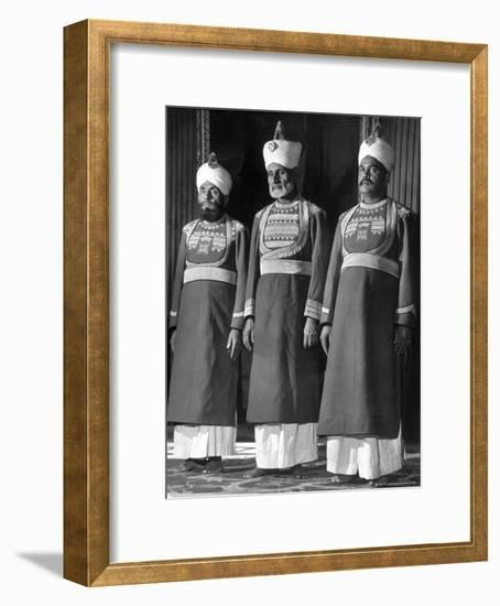 Servants of British Lord Archibald Wavell, Viceroy of India, in Scarlet and Gold Uniforms-Margaret Bourke-White-Framed Photographic Print