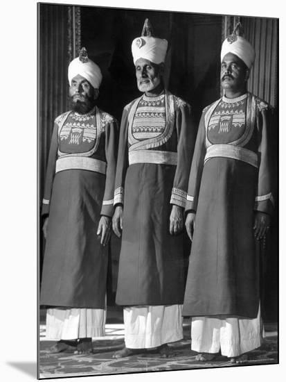 Servants of British Lord Archibald Wavell, Viceroy of India, in Scarlet and Gold Uniforms-Margaret Bourke-White-Mounted Photographic Print