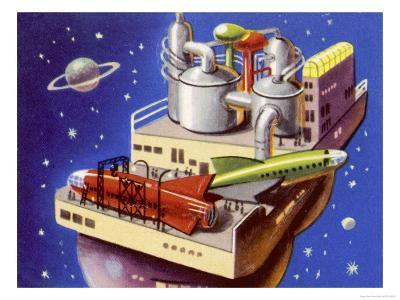 Service Station in Space for Refuelling and Repairing Interplanetary Craft--Giclee Print