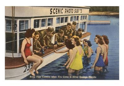 Servicemen, Bathing Girls, Silver Springs, Florida--Art Print