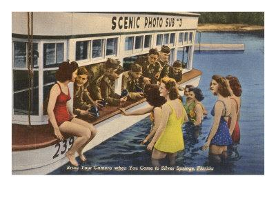 Servicemen, Bathing Girls, Silver Springs, Florida--Art Print