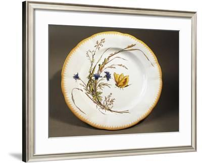 Serving Dish with Butterfly Decoration, Sarreguemines Faience--Framed Giclee Print