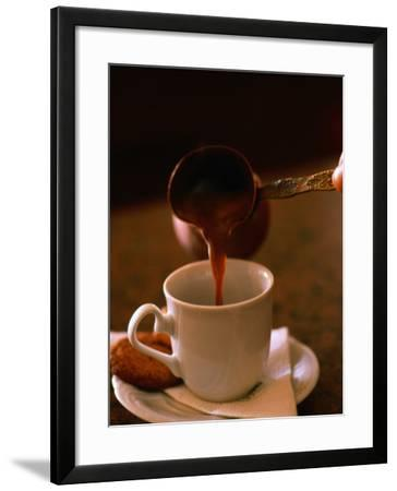 Serving Greek Coffee at Cafe in Aristotelous Square, Serres, Central Macedonia, Greece-Alan Benson-Framed Photographic Print