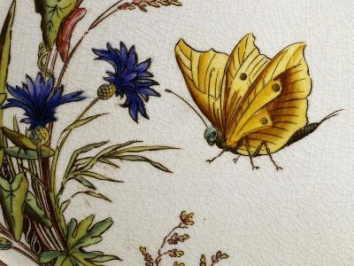 Serving Plate Decorated with Flowers and Butterflies, Ceramic--Giclee Print