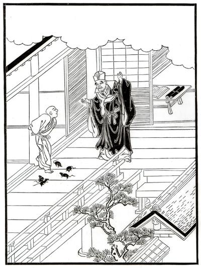 Sesshiu and the Pictured Rats, 18th Century-Nishikawa Sukenobu-Giclee Print