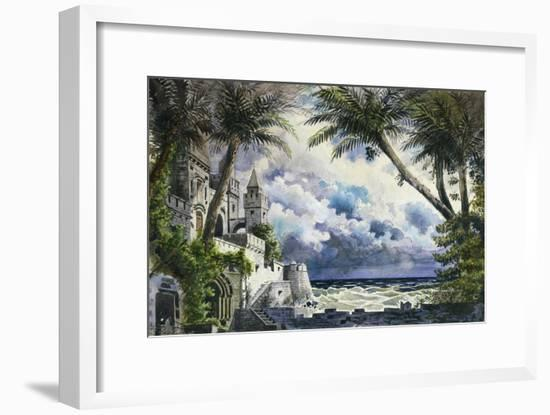 Set Design by Giovanni Zuccarelli Depicting the Outside of the Castle for the First Act-Giuseppe Verdi-Framed Giclee Print
