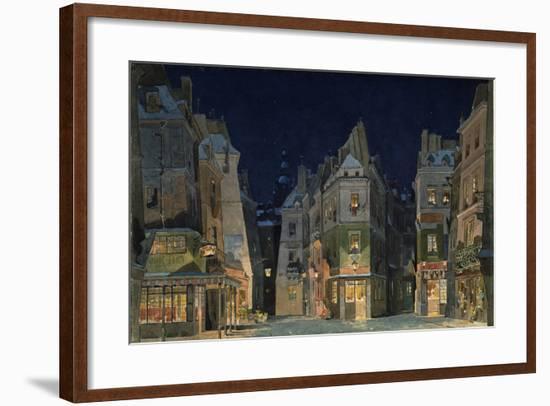 Set design for Act 2 of La Bohème, Opera by Giacomo Puccini-Adolfo Hohenstein-Framed Premium Giclee Print