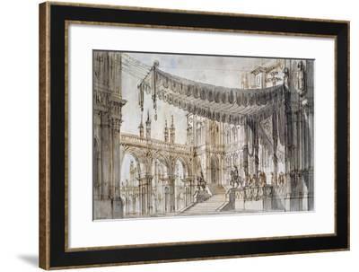 Set Design for Fifth Scene of Gabriella Di Vergy, Opera by Gaetano Donizetti--Framed Giclee Print