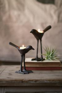 Set of 2 Cast Iron Bird Tea Light Holders