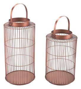 Set of 2 Metal Lanterns Bronze