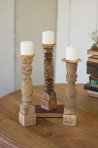 Set of 3 Assorted Wooden Reclaimed Banister Candle Stand