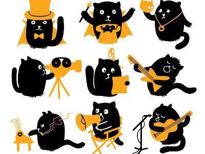 Set of Black Cats. Creative Professions-oliycka-Art Print