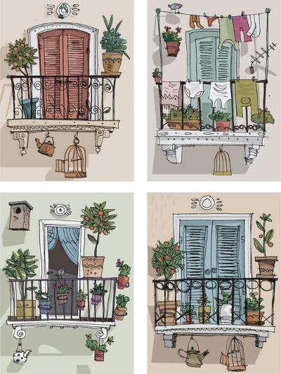 Set of Cute Balcony - Cartoon- iralu-Art Print