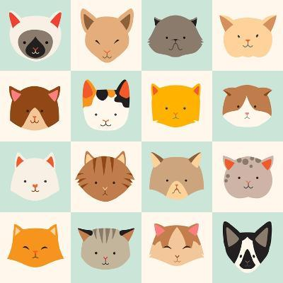 Set of Cute Cats Icons-coffeee_in-Art Print