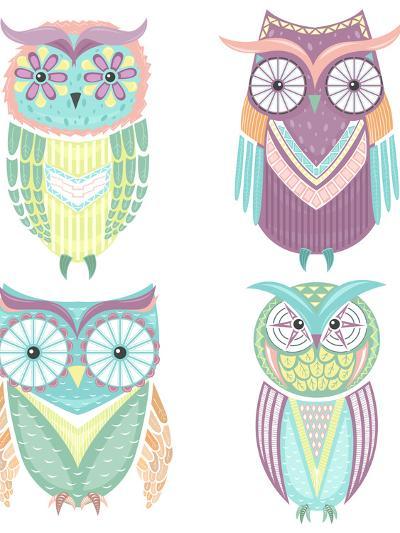 Set Of Cute Colorful Owls-cherry blossom girl-Art Print