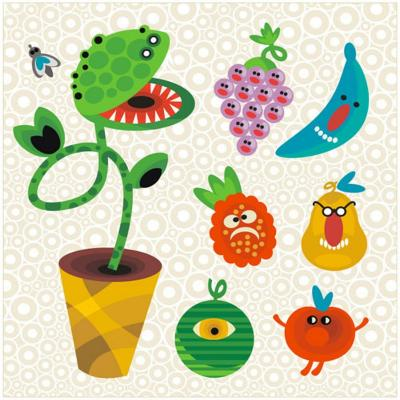 Set of Cute Plant Monsters. Vector Illustration for Your Background.-Eka Panova-Art Print