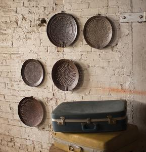 Set of Five Assorted Iron Strainer Wall Hangings