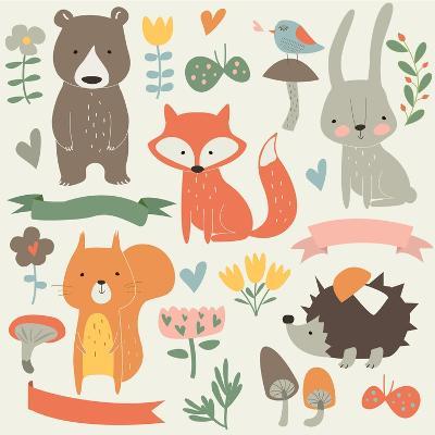 Set of Forest Animals in Cartoon Style. Cute Hedgehog, Birds, Bear, Fox, Hare, Mushrooms, Elk, Snai-Kaliaha Volha-Art Print