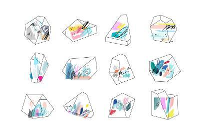 Set of Geometric Outline Shapes and Crystals-Lera Efremova-Art Print