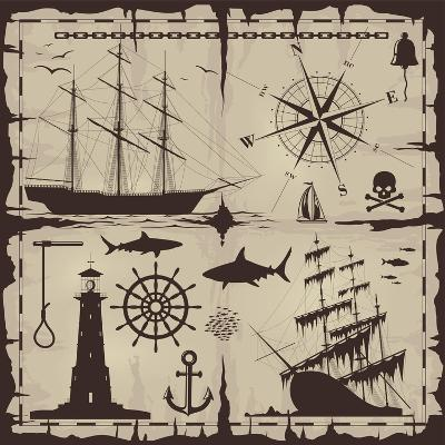 Set of Nautical Design Elements. No Trace. All Images Could Be Easy Modified-Makhnach S-Art Print