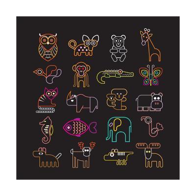Set of Neon Animal Icons-Jazzia-Art Print